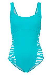 Kostium kąpielowy shape Level 3, przyjazny dla środowiska bonprix turkusowo-biały w paski zebry. Kolor: niebieski. Materiał: materiał. Wzór: motyw zwierzęcy, paski