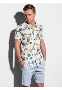 Biała koszula Ombre Clothing z krótkim rękawem, krótka