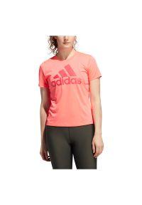 Adidas - Koszulka sportowa damska adidas Badge od Sport Logo GK0313. Materiał: materiał, poliester. Długość rękawa: krótki rękaw. Długość: krótkie. Sport: fitness, kolarstwo