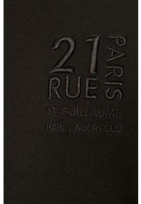 Czarna bluza rozpinana Karl Lagerfeld z aplikacjami, na co dzień, z kapturem