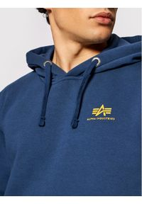 Alpha Industries Bluza Basic Hoody Small Logo 196318 Granatowy Regular Fit. Kolor: niebieski