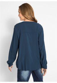 Niebieska tunika bonprix długa, z dekoltem w serek, z długim rękawem