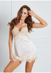 Saintmiss - Koszula nocna w japońskim stylu // Blanche - M, Biały. Kolor: biały. Materiał: satyna, materiał, koronka. Długość: krótkie. Wzór: koronka, ażurowy
