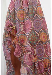 e-margeritka - Długa zwiewna spódnica z falbaną i z jedwabiem - druk 20, m. Materiał: jedwab. Długość: długie