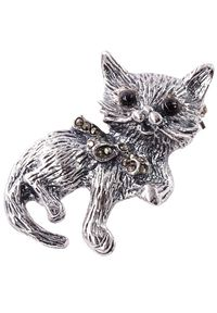 Braccatta - KITTY Srebrna broszka z markazytami kotek. Materiał: srebrne. Kolor: srebrny. Wzór: aplikacja. Kamień szlachetny: markazyt