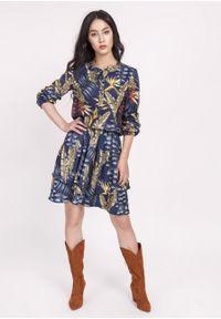 e-margeritka - Sukienka z gumką w pasie granat - 42. Materiał: poliester, materiał. Długość rękawa: długi rękaw. Typ sukienki: rozkloszowane. Styl: elegancki