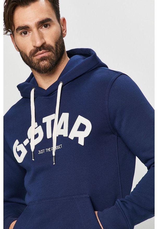 Niebieska bluza nierozpinana G-Star RAW z kapturem, z aplikacjami