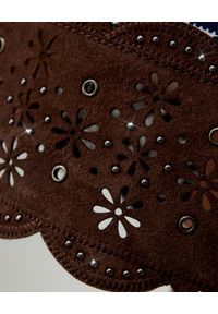 FAY - Spódnica mini w stylu boho. Kolor: brązowy. Materiał: elastan, materiał, bawełna. Wzór: aplikacja. Styl: boho