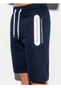 Ombre Clothing - Krótkie spodenki męskie dresowe W239 - granatowe - XXL. Okazja: na co dzień. Kolor: niebieski. Materiał: dresówka. Długość: krótkie. Wzór: nadruk. Sezon: wiosna, lato. Styl: casual, klasyczny