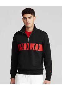 Ralph Lauren - RALPH LAUREN - Czarna bluza z logo. Typ kołnierza: bez kaptura, polo. Kolor: czarny. Materiał: tkanina. Długość rękawa: długi rękaw. Długość: długie. Wzór: haft, nadruk