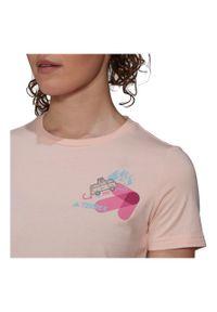 Adidas - Koszulka damska adidas Travel Graphic Tee GR9987. Materiał: dzianina, bawełna. Długość rękawa: krótki rękaw. Długość: krótkie