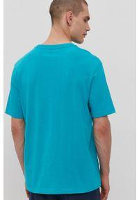 Diadora - T-shirt. Okazja: na co dzień. Kolor: turkusowy. Materiał: bawełna. Wzór: nadruk. Styl: casual