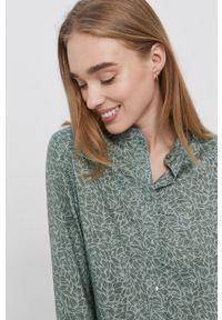 Vero Moda - Sukienka. Typ kołnierza: kołnierzyk stójkowy. Kolor: zielony. Materiał: tkanina, włókno, materiał. Długość rękawa: długi rękaw