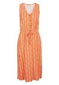 Sukienka shirtowa midi bonprix czerwonopomarańczowy. Kolor: pomarańczowy. Styl: elegancki. Długość: midi