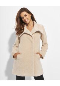 CINZIA ROCCA - Beżowy płaszcz z wełny alpaki. Kolor: beżowy. Materiał: wełna