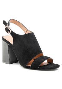 Czarne sandały DeeZee casualowe, na obcasie