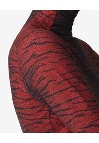 Kenzo - KENZO - Dopasowany golf Tiger. Typ kołnierza: golf. Kolor: czerwony. Długość rękawa: długi rękaw. Długość: długie. Wzór: paski, aplikacja, nadruk