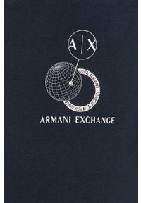 Armani Exchange - T-shirt. Okazja: na co dzień. Kolor: niebieski. Materiał: dzianina. Wzór: nadruk. Styl: casual