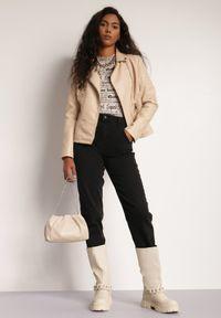 Renee - Jasnobeżowa Ramoneska Fuarec. Kolor: beżowy. Materiał: jeans
