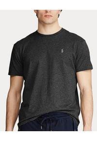 Ralph Lauren - RALPH LAUREN - Szara koszulka Custom Slim Fit. Typ kołnierza: polo. Kolor: szary. Materiał: bawełna. Wzór: haft