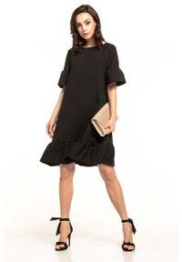 Czarna sukienka wizytowa Tessita z falbankami, na lato