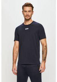 Niebieski t-shirt Hugo casualowy, na co dzień, z nadrukiem