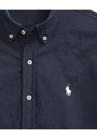 Ralph Lauren - RALPH LAUREN - Koszula Custom Fit. Typ kołnierza: polo. Kolor: niebieski. Materiał: materiał. Długość rękawa: długi rękaw. Długość: długie. Wzór: haft