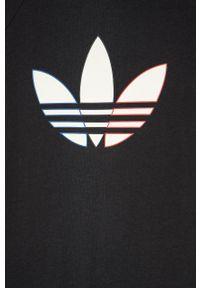 Czarna bluzka z krótkim rękawem adidas Originals casualowa, z nadrukiem, na co dzień