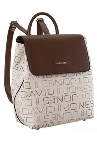 DAVID JONES - Plecak damski beżowy David Jones 6534-1 BEIGE. Kolor: beżowy. Materiał: skóra ekologiczna. Wzór: aplikacja, nadruk