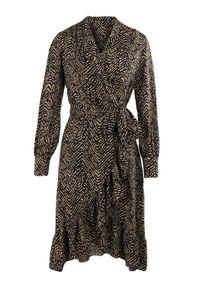Born2be - Czarna Sukienka Appista. Kolor: czarny. Materiał: tkanina, materiał. Wzór: motyw zwierzęcy. Typ sukienki: asymetryczne, kopertowe. Długość: mini