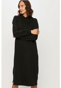 Czarna sukienka Noisy may z kapturem, casualowa, na co dzień, prosta