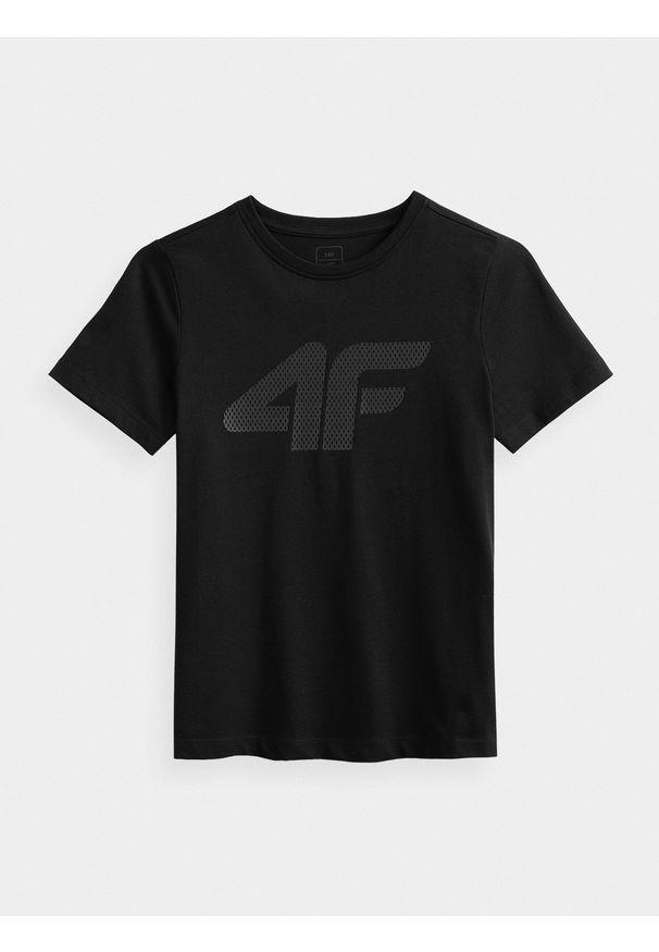 4f - T-shirt chłopięcy (122-164). Kolor: czarny. Materiał: bawełna, materiał