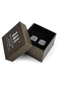Adam Collection - Szare kwadratowe spinki do mankietów A192. Kolor: szary