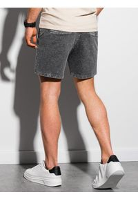 Ombre Clothing - Krótkie spodenki męskie dresowe W293 - czarne - XXL. Kolor: czarny. Materiał: dresówka. Długość: krótkie. Sezon: lato