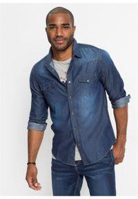 Koszula dżinsowa Slim Fit, długi rękaw bonprix Koszula dż SF c.ni.st. Kolor: niebieski. Długość rękawa: długi rękaw. Długość: długie