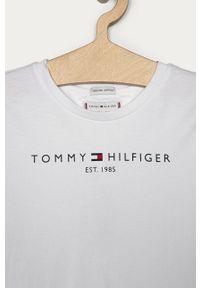 Biała bluzka z krótkim rękawem TOMMY HILFIGER z okrągłym kołnierzem, na co dzień