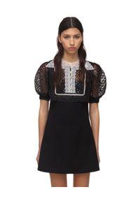 SELF PORTRAIT - Czarna sukienka mini z crepy. Kolor: czarny. Materiał: koronka. Wzór: koronka. Typ sukienki: rozkloszowane, dopasowane. Długość: mini