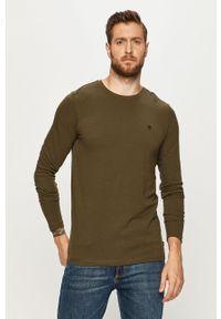 Zielona koszulka z długim rękawem Premium by Jack&Jones na co dzień, z okrągłym kołnierzem, casualowa