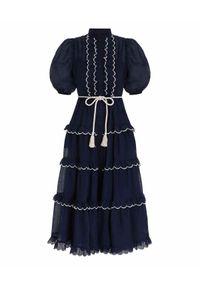 ZIMMERMANN - Granatowa sukienka Aliane. Typ kołnierza: kołnierz z falbankami. Kolor: niebieski. Wzór: aplikacja, haft. Długość: maxi