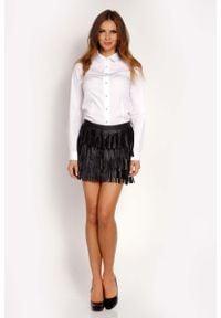 Lou-Lou - Biała Koszula Zapinana na Biżuteryjne Guziki. Kolor: biały. Materiał: elastan, nylon, bawełna