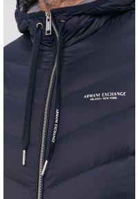 Armani Exchange - Kurtka puchowa. Okazja: na co dzień. Typ kołnierza: kaptur. Kolor: niebieski. Materiał: puch. Wzór: gładki. Styl: casual