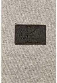 Szara bluza nierozpinana Calvin Klein Jeans z aplikacjami, casualowa, z kapturem, na co dzień