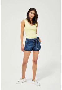 MOODO - Szorty jeansowe z wiązaniem. Materiał: jeans. Wzór: gładki