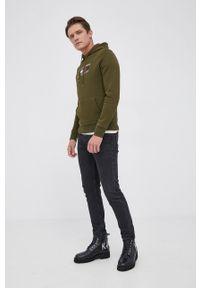 TOMMY HILFIGER - Tommy Hilfiger - Bluza. Okazja: na co dzień. Kolor: zielony. Materiał: bawełna, dzianina. Wzór: aplikacja. Styl: casual