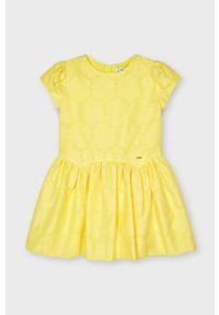 Żółta sukienka Mayoral gładkie, rozkloszowana, mini