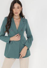 Born2be - Zielona Marynarka Ianthathe. Kolor: zielony. Materiał: jeans, materiał