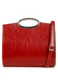 Torebka skórzana damska do ręki czerwona DAN-A T359. Kolor: czerwony. Materiał: skórzane. Rodzaj torebki: do ręki