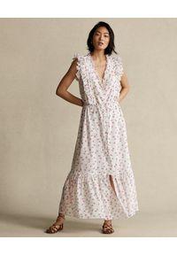 Ralph Lauren - RALPH LAUREN - Sukienka ozdobiona falbanami. Typ kołnierza: polo. Kolor: biały. Materiał: bawełna. Wzór: aplikacja. Długość: midi