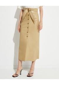NANUSHKA - Beżowa spódnica ze skóry wegańskiej. Stan: podwyższony. Kolor: beżowy. Materiał: skóra. Sezon: jesień. Styl: klasyczny