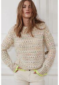 Wielokolorowy sweter długi, z długim rękawem